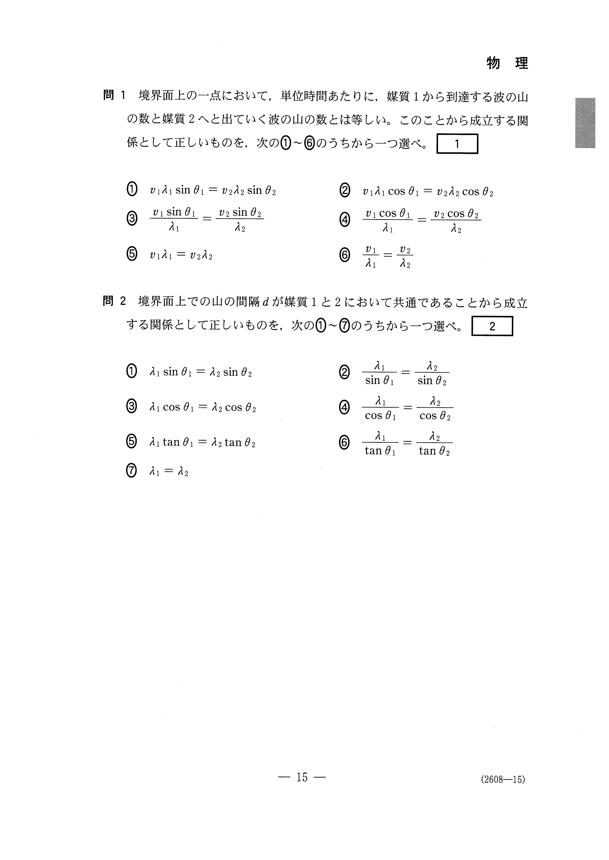 H27新理科Ⅱ_物理 大学入試センター試験過去問