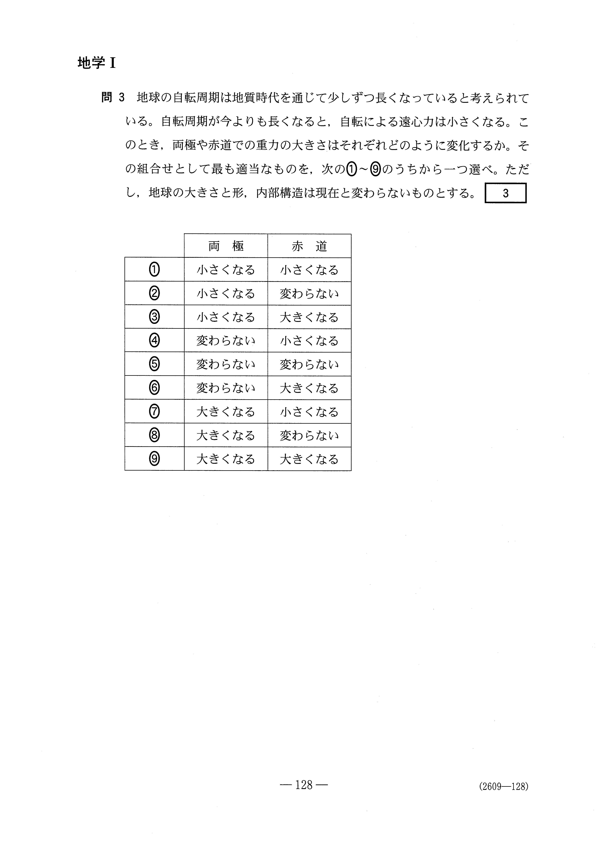 H27旧理科Ⅱ_地学Ⅰ 大学入試センター試験過去問