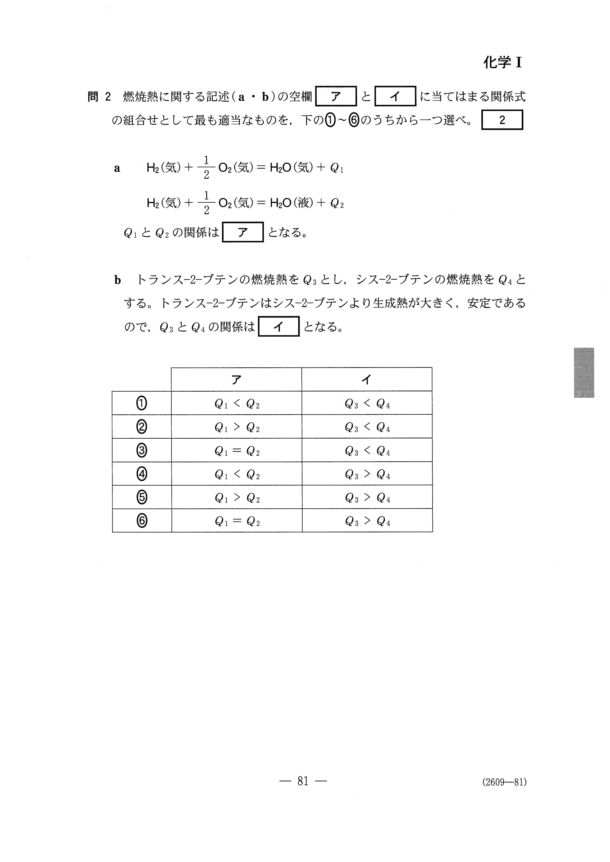 H27旧理科Ⅱ_化学Ⅰ 大学入試センター試験過去問