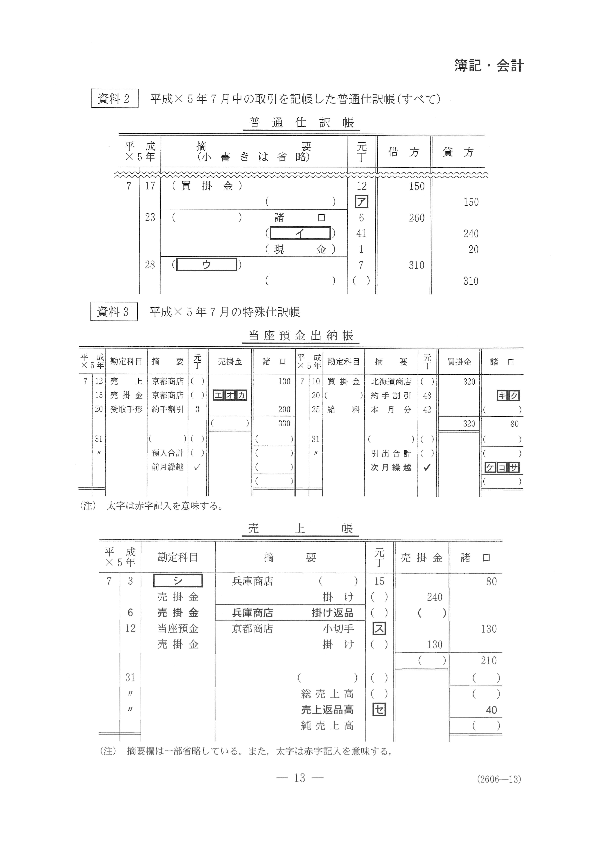 2019年 平成31年,令和元年 数学_簿記・会計 大学入試センター試験過去問